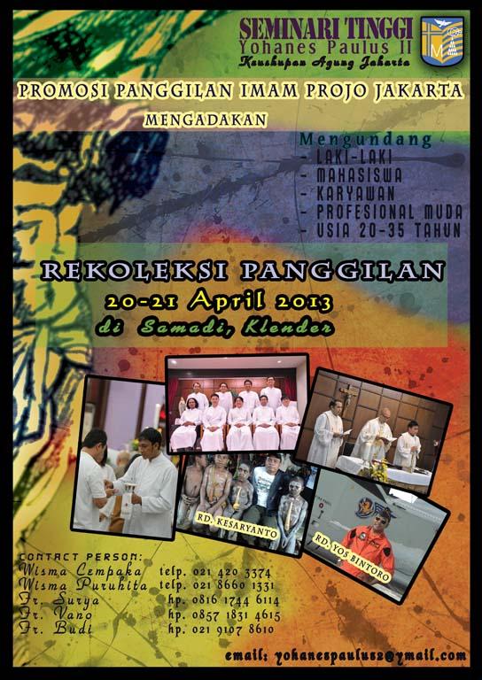 Rekoleksi Panggilan 2013, Seminari Tinggi Yohanes Paulus II Keuskupan Agung Jakarta
