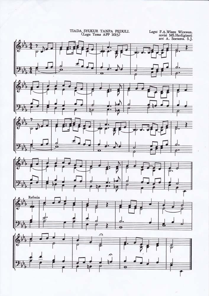 Teks Partitur - lagu APP dan Tahun Syukur 2015 KAJ