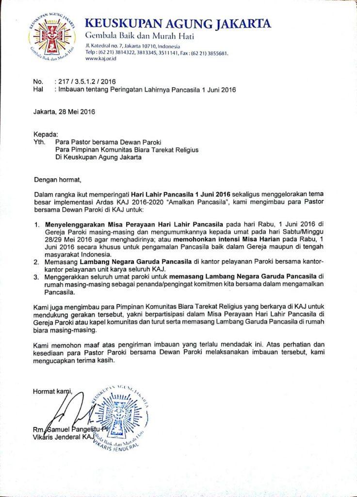 Hal: Imbauan tentang Peringatan Lahirnya Pancasila 1 Juni 2016