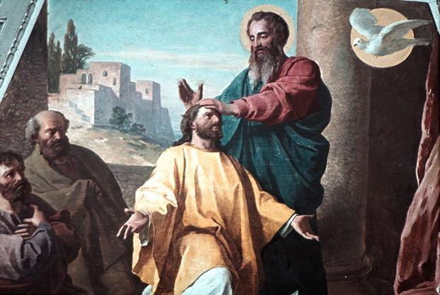 Artwork: Ludwig Glötzle, St. Paul Ordains Timothy as Bishop of Ephesus, 1891. Fresco, Dom Sankt Rupert und Sankt Virgil (Cathedral of St. Rupert and St. Vergilius), Salzburg.