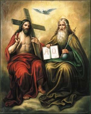 Allah Tritunggal, saling melengkapi untuk mewujudkan kerahiman Allah yang memerdekakan.Sumber : http://www.catholicjournal.us/wp-content/uploads/Trinity-Sunday-1.jpg